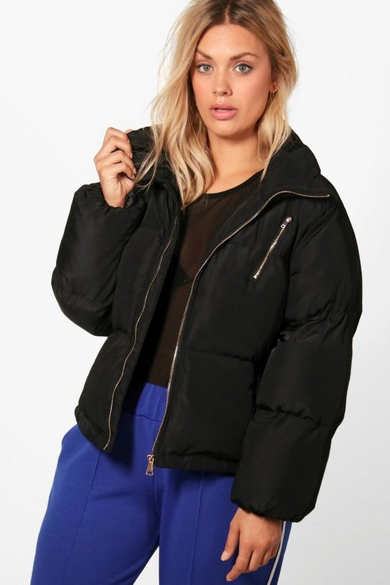 Plus Emily Funnel Neck Padded Jacket