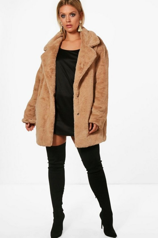 Plus Bella Teddy Faux Fur Oversized Coat