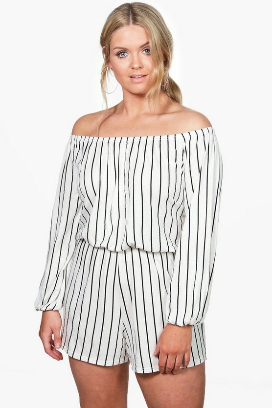 Plus Diana Stripe Off The Shoulder Playsuit