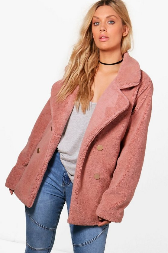 Plus Macie Double Breasted Teddy Faux Fur Coat