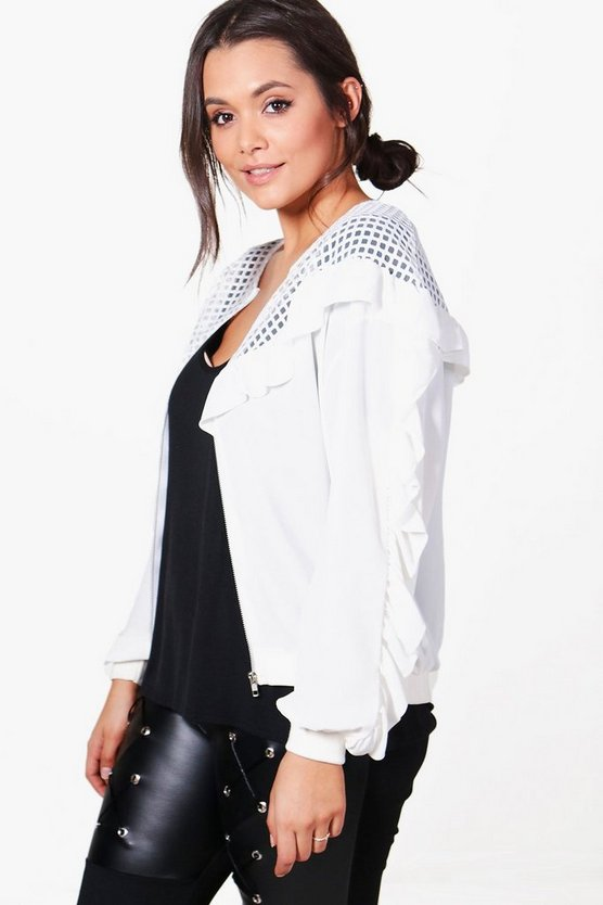 Plus Alicia Frill Detail Bomber Jacket