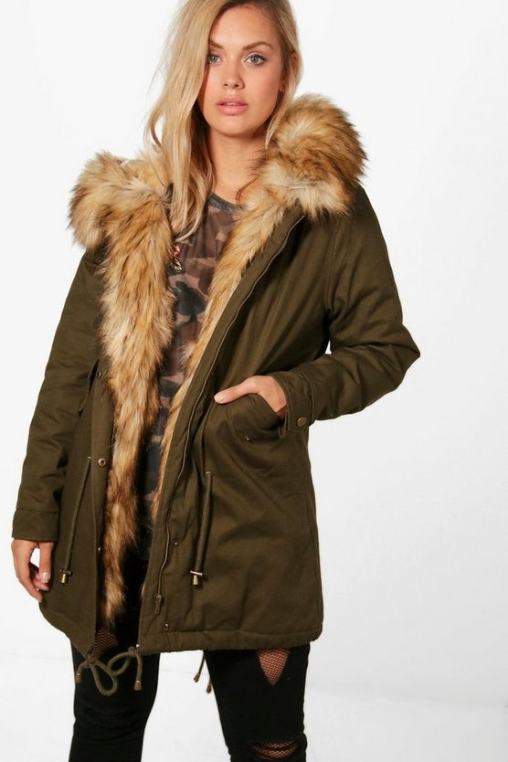 Plus Lisa Fur Trim Parka