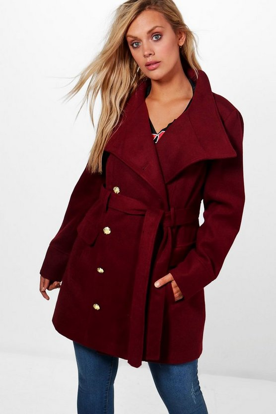 Burgundy Plus Vicky Military Funnel Neck Coat