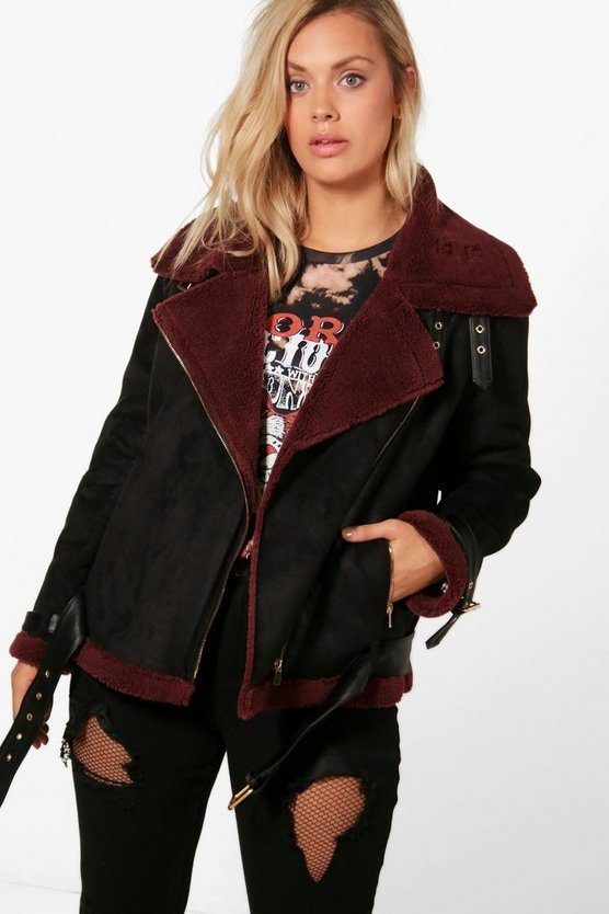 Plus Alex Contrast Faux Fur Bonded Aviator Jacket