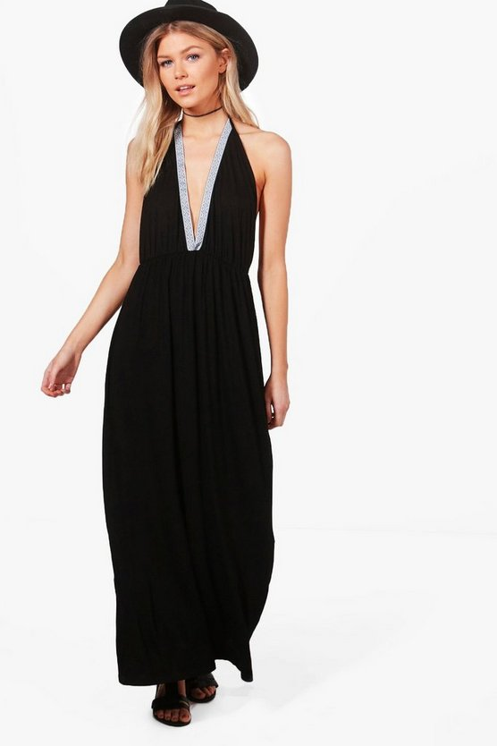 Petite Ella Halterneck Trim Maxi Dress
