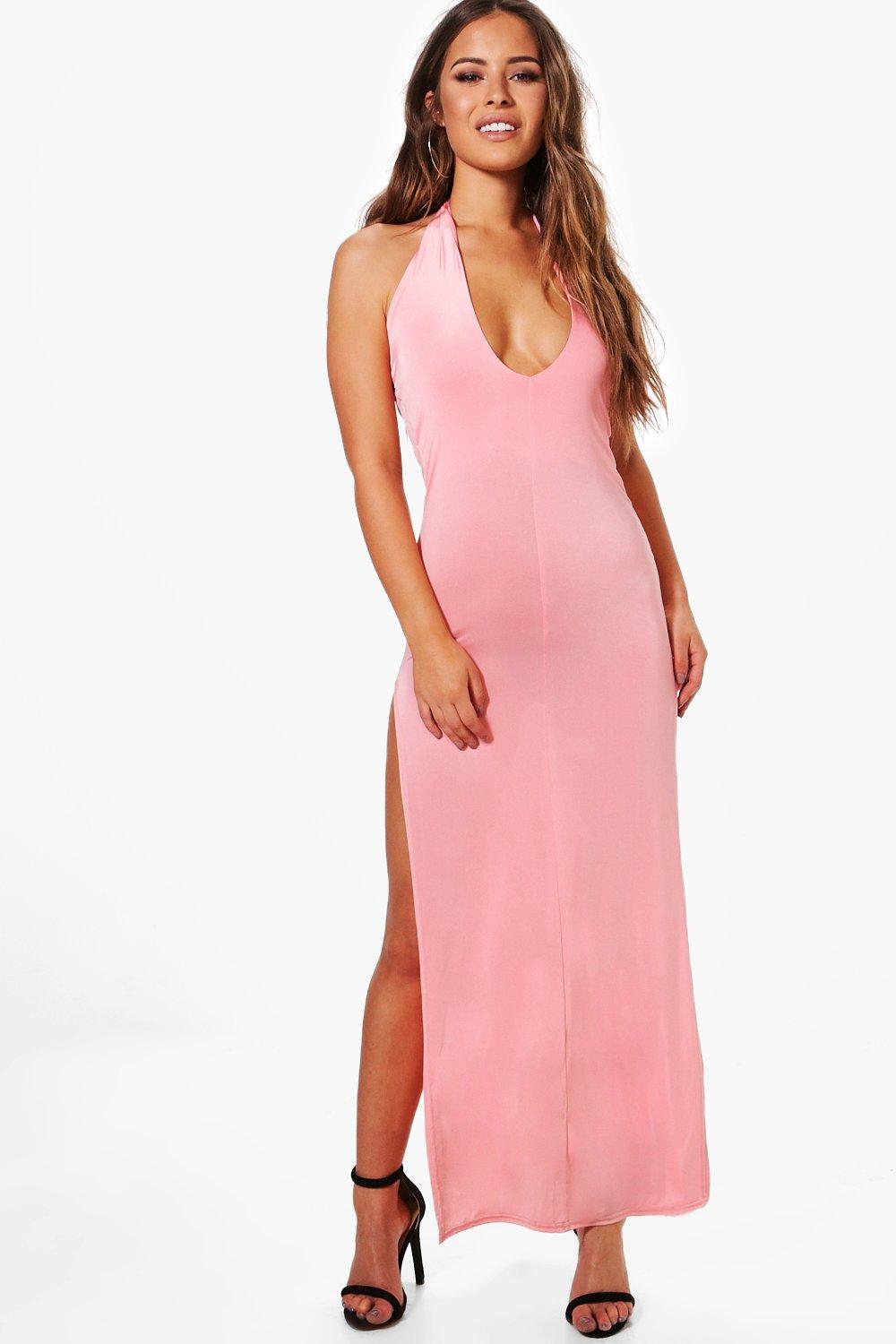 f71a0321eb04 Petite Halterneck Plunge Slinky Maxi Dress. Hover to zoom