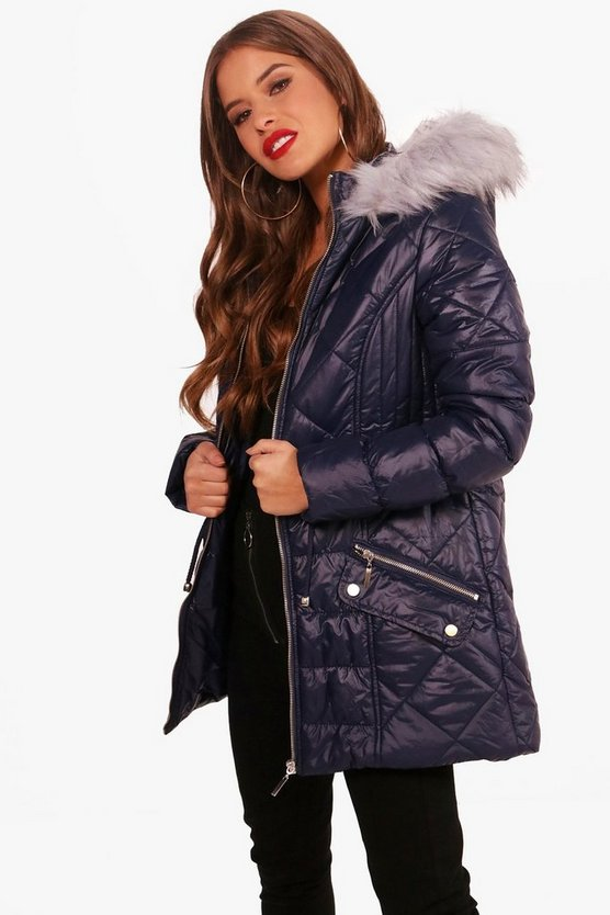 Petite Padded Drawstring Faux Fur Hooded Coat