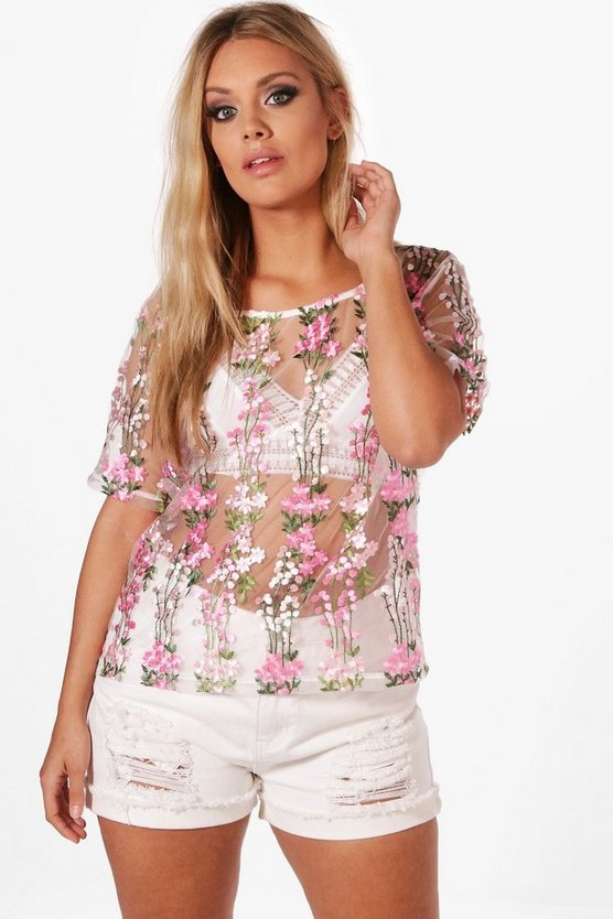 Plus Claire Embroidered Shell Top