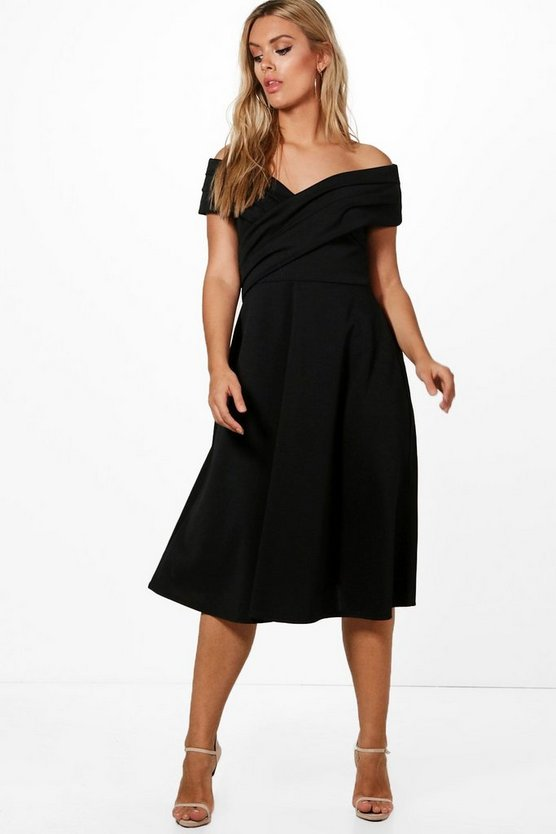 Womens Black Plus Pleated Off The Shoulder Skater Dress