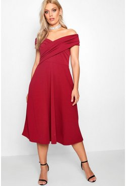 Womens Cranberry Plus Pleated Off The Shoulder Skater Dress