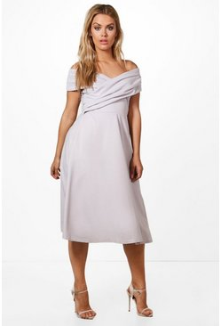 Womens Grey Plus Pleated Off The Shoulder Skater Dress