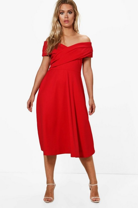 Red Plus Pleated Off The Shoulder Skater Dress