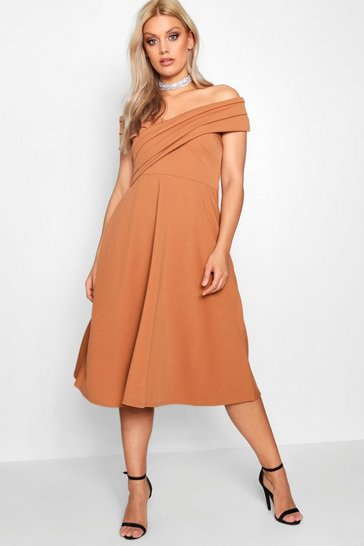 Womens Toffee Plus Pleated Off The Shoulder Skater Dress