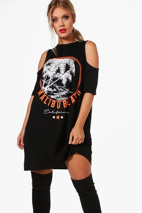 Plus Katie Open Shoulder Printed T-shirt Dress