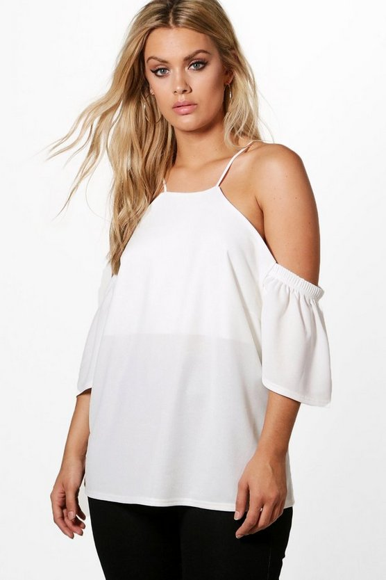 Plus Kate Open Shoulder Ruffle Top