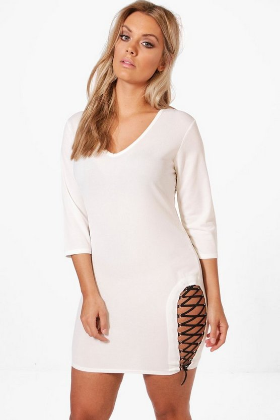 Plus Ferne Lace Up Side Detail Bodycon Dress