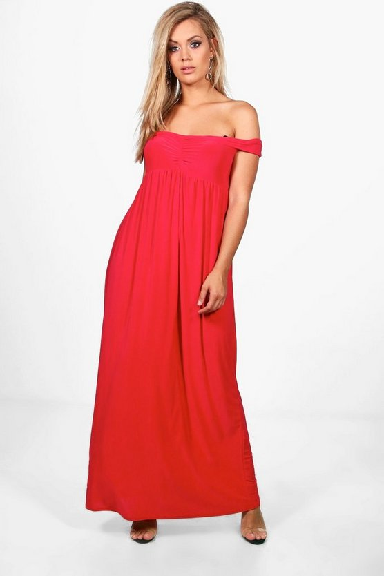 Womens Plus Off The Shoulder Slinky Maxi Dress