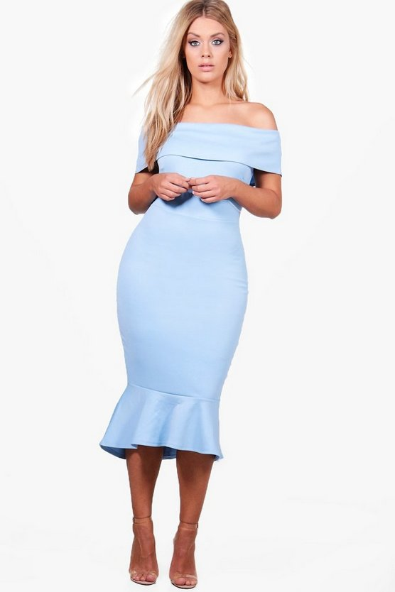 Plus Off The Shoulder Peplum Midi Dress