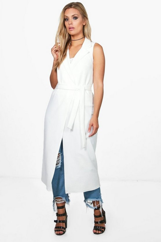 Plus Sleeveless Tie Waist Duster
