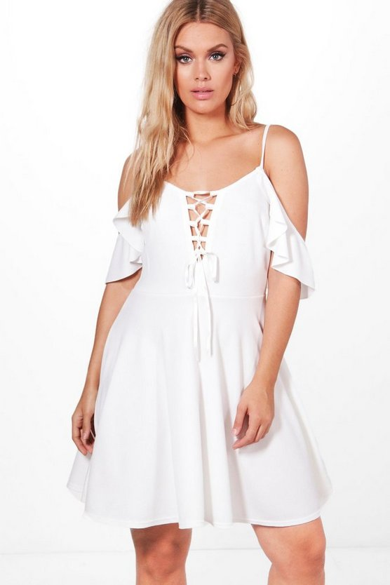 Plus Yasmin Drape Sleeve Tie Front Skater Dress