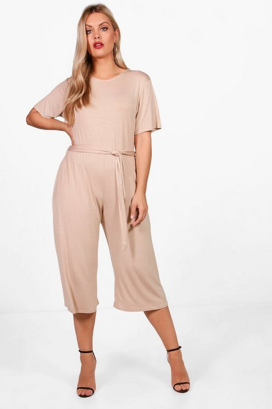 Plus Kelly Tie Waist Culotte Jumpsuit