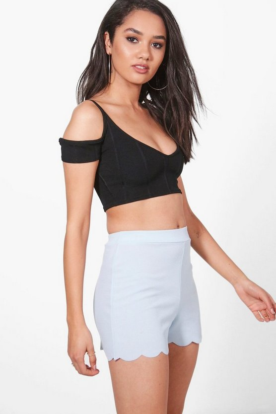 Petite Carla Scalloped Hem Hot Pants