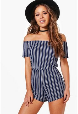 Womens Multi Petite Short Sleeve Off The Shoulder Playsuit