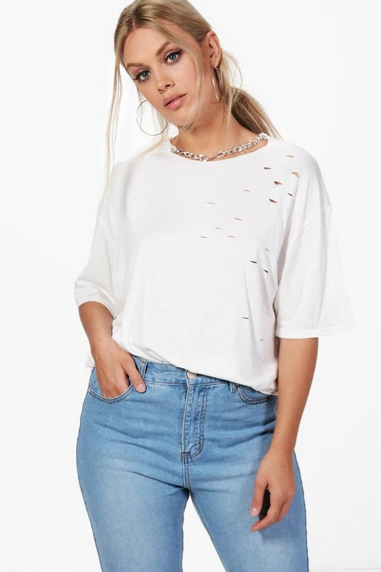 Plus Jane Chain Detail Distressed Tee