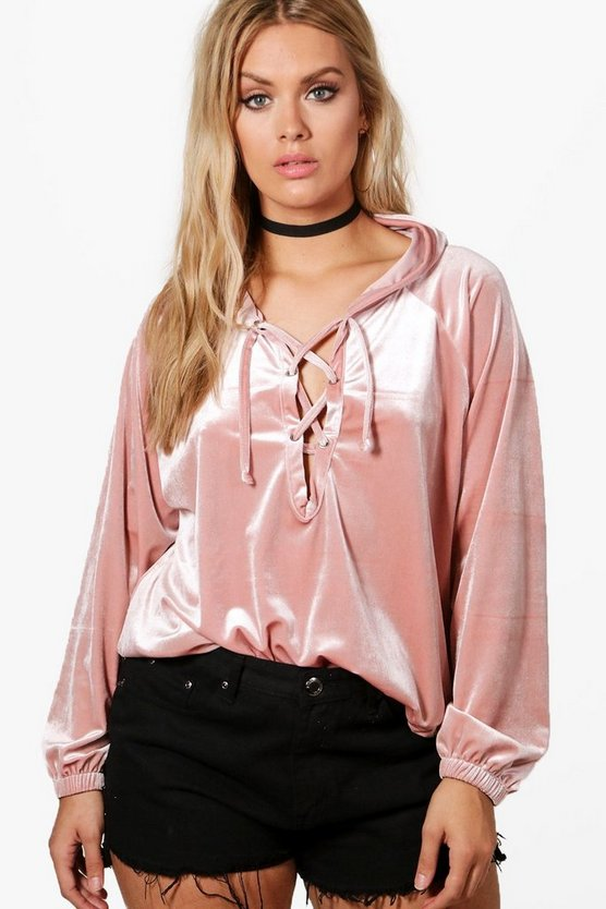Plus Bianca Velvet Lace Up Hooded Top