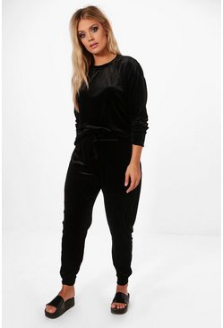 Womens Black Plus  Velvet Top and Sweat Pants