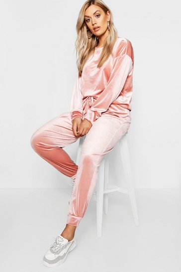 Womens Rose Plus  Velvet Top and Sweat Pants