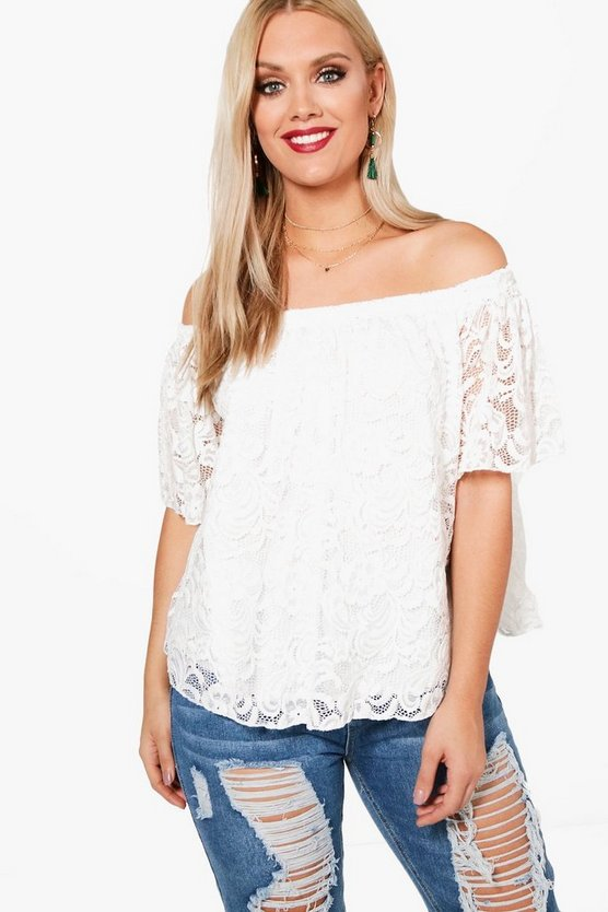 Plus Hollie Off The Shoulder Lace Smock Top