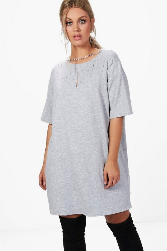 Plus Kerry Chain Slashed Front Sweat Dress