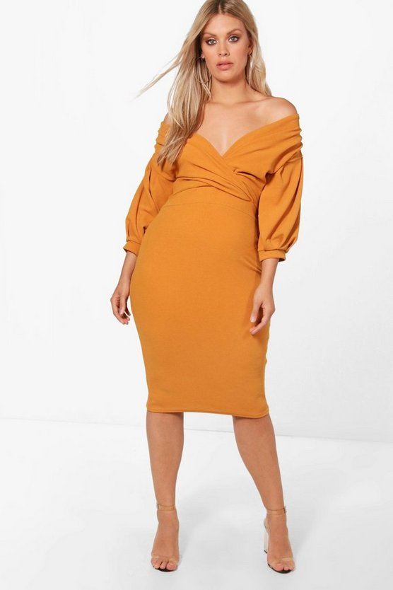 Womens Amber Plus Off The Shoulder Wrap Midi Dress