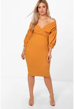Amber Plus Off The Shoulder Wrap Midi Dress
