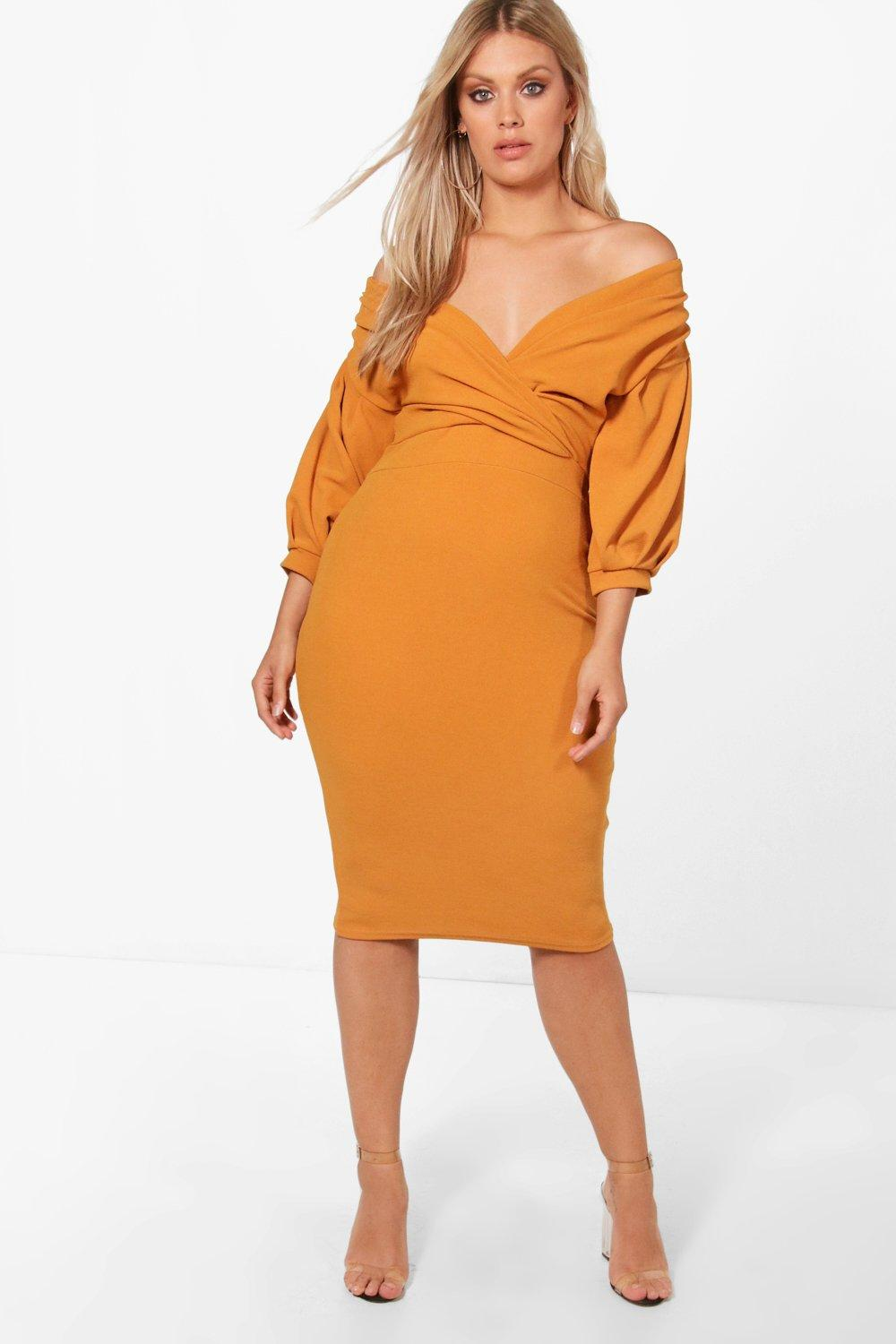 Plus Off The Shoulder Wrap Midi Dress Boohoo Ambers Navy Hover To Zoom