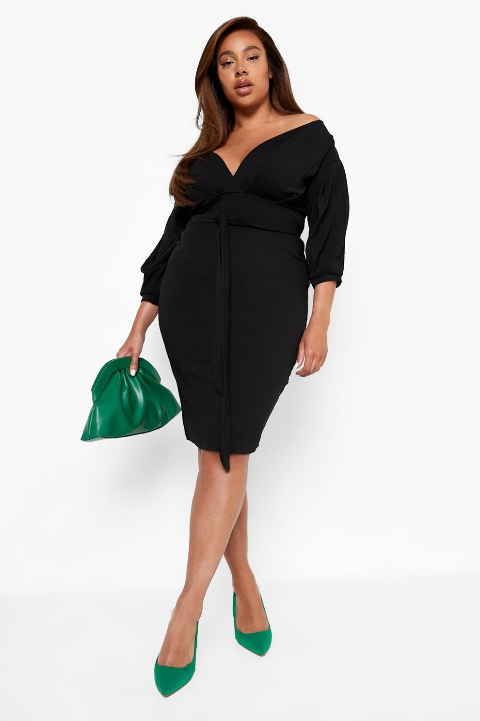 27ba3f90e915 Womens Black Plus Off The Shoulder Wrap Midi Dress