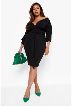 Womens Black Plus Off The Shoulder Wrap Midi Dress
