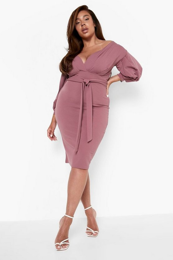 Plus Off The Shoulder Wrap Midi Dress