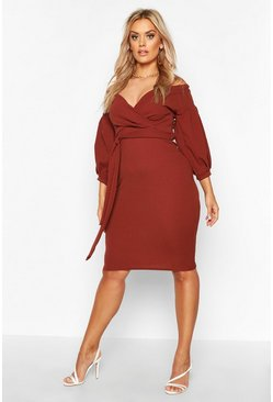 Womens Chocolate Plus Off The Shoulder Wrap Midi Dress