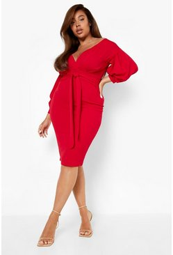Womens Flame red Plus Off The Shoulder Wrap Midi Dress