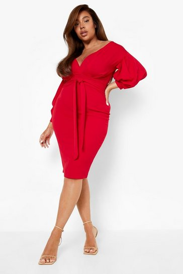 Flame red Plus Off The Shoulder Wrap Midi Dress