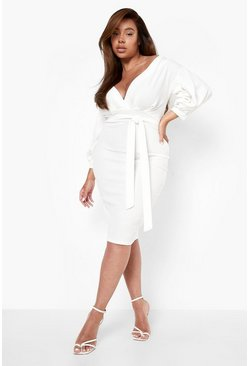 Womens Ivory Plus Off The Shoulder Wrap Midi Dress