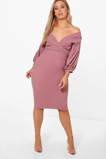 Womens Mink Plus Off The Shoulder Wrap Midi Dress