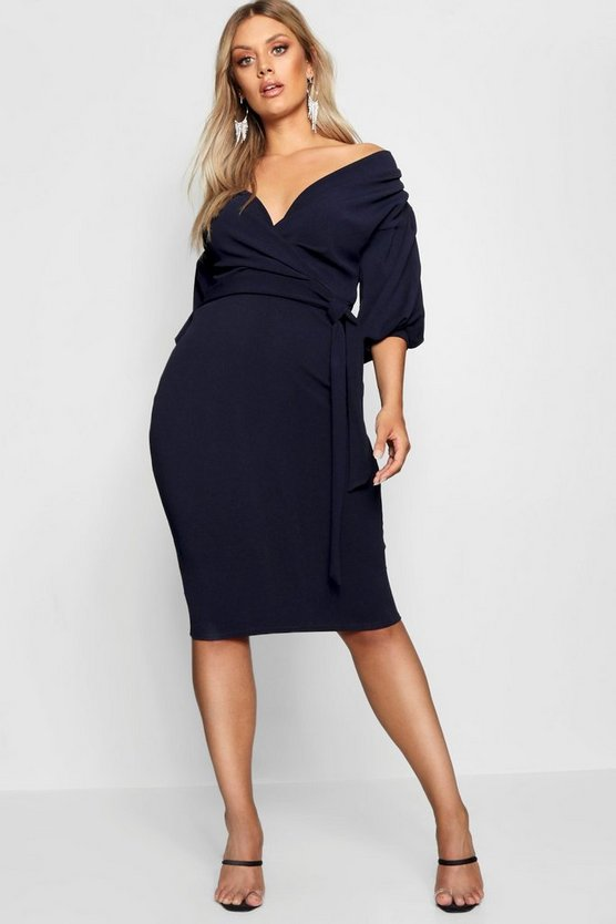 Womens Navy Plus Off The Shoulder Wrap Midi Dress
