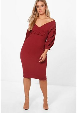 Plum Plus Off The Shoulder Wrap Midi Dress
