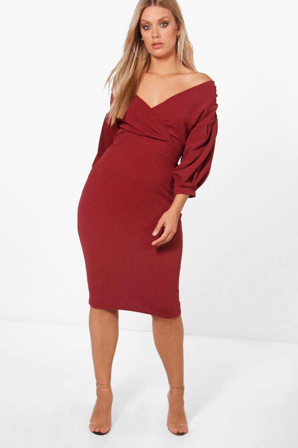 008ff84a1dba5 Plus Off The Shoulder Wrap Midi Dress | Boohoo