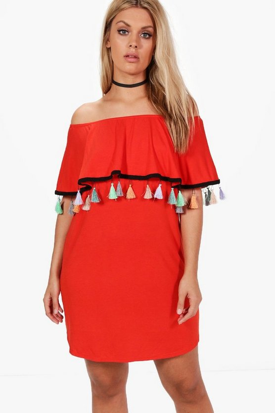 Plus Olivia Tassel Trim Off The Shoulder Dress