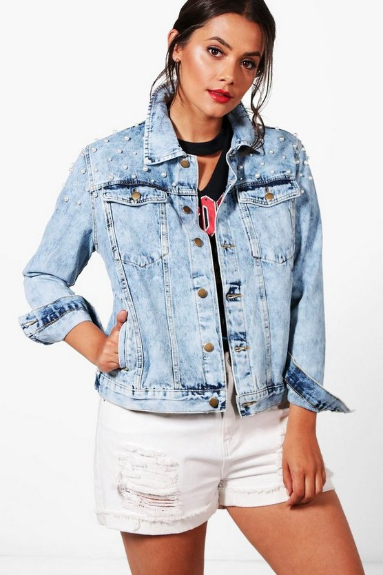 Plus Caitlin Oversized Pearl Denim Jacket