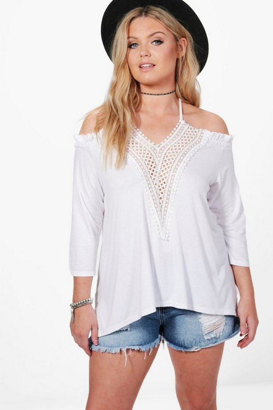 Plus Abbi V Neck Tie Crochet Trim Top